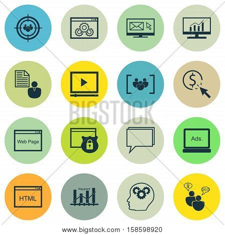 Set Of SEO Icons On Market Research, Report And Website Performance Topics. Editable Vector Illustration. Includes Comprehensive, Pay, Consulting And More Vector Icons.