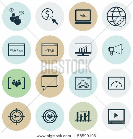 Set Of Marketing Icons On Keyword Optimisation, SEO Brainstorm And Connectivity Topics. Editable Vector Illustration. Includes Audience, Community, Keyword And More Vector Icons.