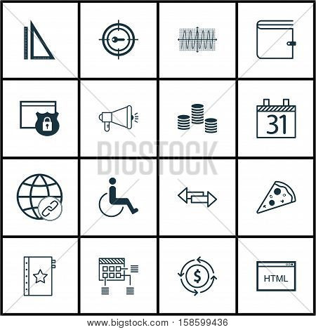 Set Of 16 Universal Editable Icons. Can Be Used For Web, Mobile And App Design. Includes Icons Such As Money, Coding, Media Campaign And More.