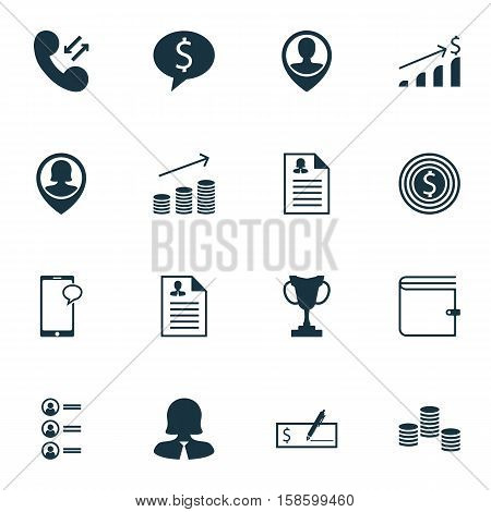 Set Of Hr Icons On Coins Growth, Curriculum Vitae And Cellular Data Topics. Editable Vector Illustration. Includes Application, List, Discussion And More Vector Icons.
