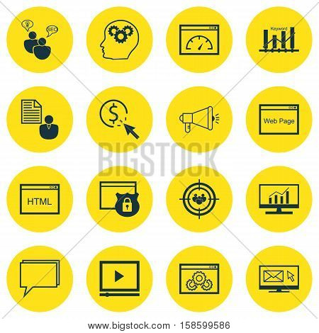 Set Of Advertising Icons On Loading Speed, Market Research And Security Topics. Editable Vector Illustration. Includes HTML, Businessman, Security And More Vector Icons.