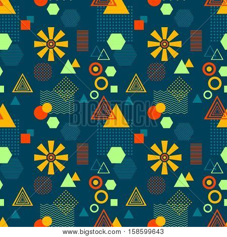 Abstract seamless pattern from geometric form in postmodern Memphis Style on dark blue background for wallpaper or package or for clothes for decoration childish school subject or for creative design