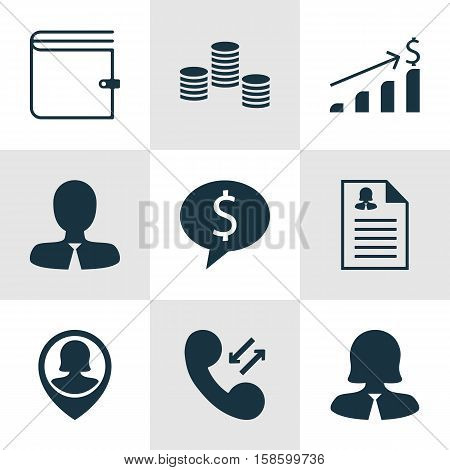 Set Of Management Icons On Pin Employee, Manager And Cellular Data Topics. Editable Vector Illustration. Includes Profile, Employee, Call And More Vector Icons.