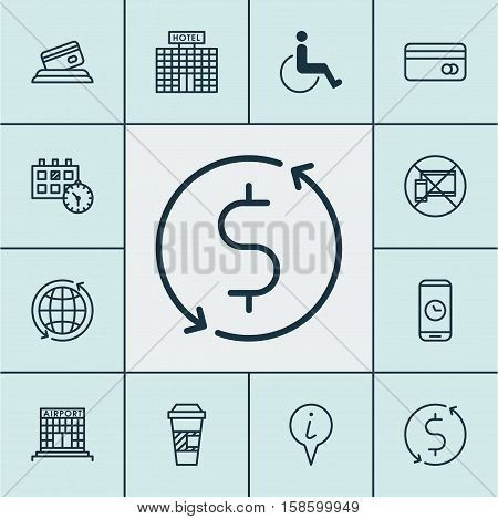 Set Of Airport Icons On Plastic Card, Hotel Construction And Info Pointer Topics. Editable Vector Illustration. Includes Pointer, Map, Debit And More Vector Icons.