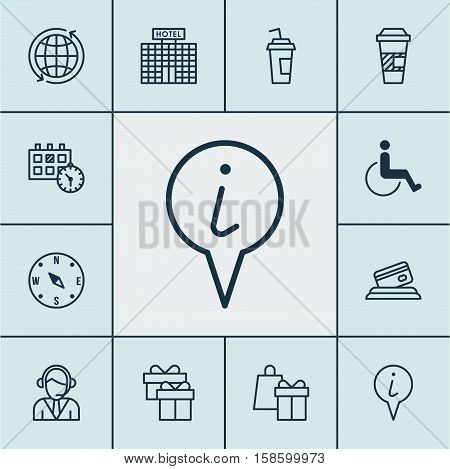 Set Of Airport Icons On Accessibility, Operator And World Topics. Editable Vector Illustration. Includes Paralyzed, Card, Building And More Vector Icons.