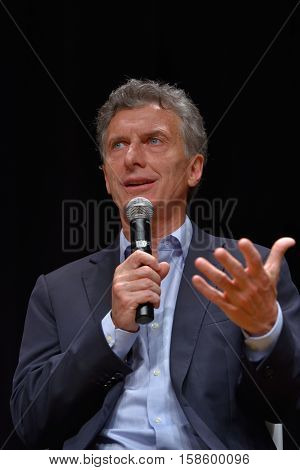 BUENOS AIRES, ARGENTINA - NOV 10, 2015: Mauricio Macri, presidential candidate for Cambiemos and the Chief of Government of the Autonomous City of Buenos Aires speaks during a press conference with foreign media at Buenos Aires Government House.