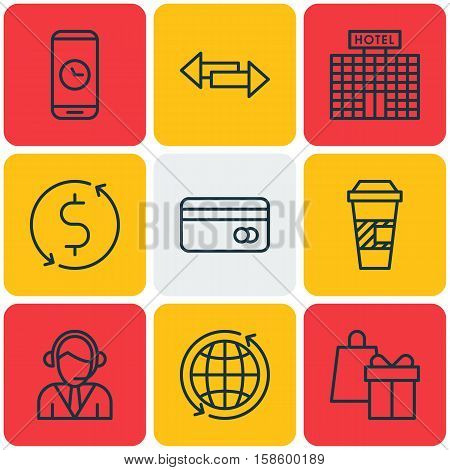 Set Of Travel Icons On Money Trasnfer, Crossroad And World Topics. Editable Vector Illustration. Includes Building, Holiday, Center And More Vector Icons.