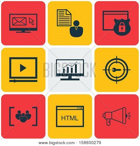 Set Of Advertising Icons On Keyword Marketing, Coding And Newsletter Topics. Editable Vector Illustration. Includes Comprehensive, Protected, Community And More Vector Icons.