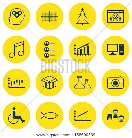 Set Of 16 Universal Editable Icons. Can Be Used For Web, Mobile And App Design. Includes Icons Such As Brain Process, Accessibility, Job Applicants And More.