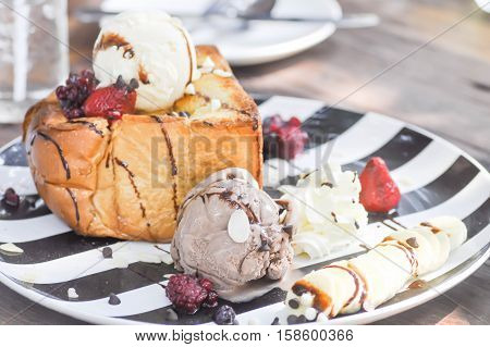 French toast with ice cream and berry dish