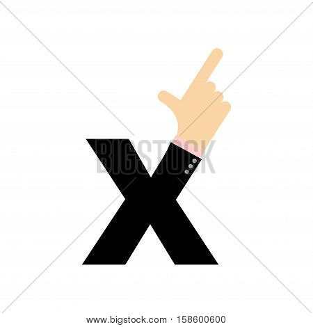 X Letter Hand. Forefinger Lettering. Hand Of Business Suit