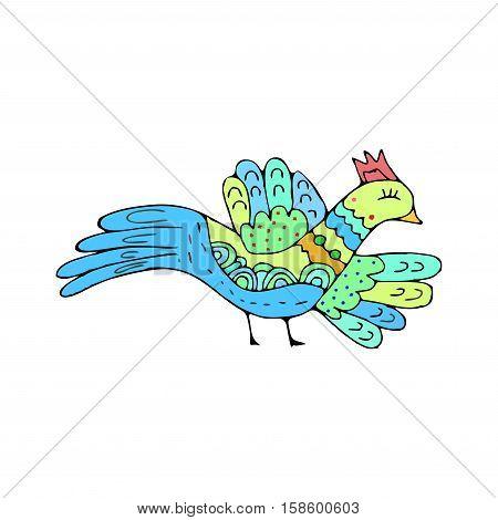 Bird Doodle. Ethnic Hand Drawing Birdie Isolated
