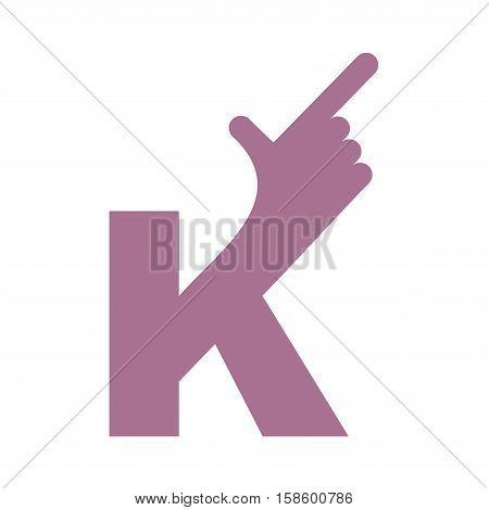K Letter Hand Isolated. Forefinger Lettering On White Bacgkround.