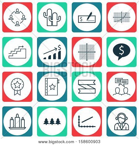 Set Of 16 Universal Editable Icons. Can Be Used For Web, Mobile And App Design. Includes Icons Such As Line Graph, Wax, Graphical Grid And More.