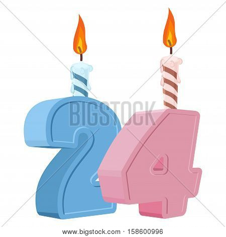 24 Years Birthday. Number With Festive Candle For Holiday Cake. Twenty Four Anniversary
