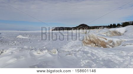 Ice and snow on the beach of Sleeping Bear Dunes National Lakeshore, Michigan