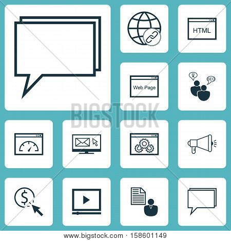 Set Of Marketing Icons On Coding, Newsletter And Video Player Topics. Editable Vector Illustration. Includes Speed, Consulting, HTML And More Vector Icons.