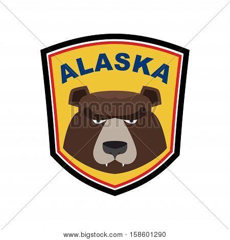 Alaska Grizzly Mascot. Bear Emblem Sign. Wild Animal Logo For Alaska