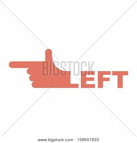 Hand Pointer Left. Direction Of Route Finger Isolated
