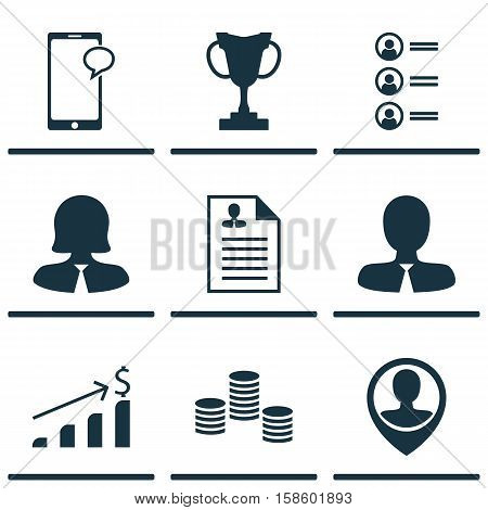 Set Of Human Resources Icons On Money, Manager And Employee Location Topics. Editable Vector Illustration. Includes Employee, Male, Applicants And More Vector Icons.