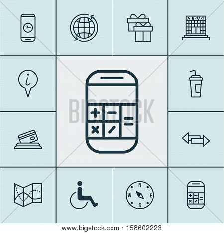 Set Of Airport Icons On Call Duration, Credit Card And Locate Topics. Editable Vector Illustration. Includes Mobile, Paralyzed, Direction And More Vector Icons.