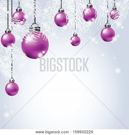 Hanging Colorful Christmas Ball with fir Christmas background greeting card vecter background.