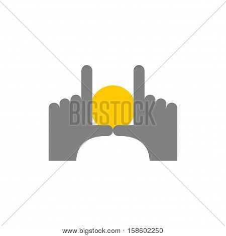 Hands And Dawn Abstract Logo. Pointing Fingers Frame. Find Good Picture. Photographers Emblem