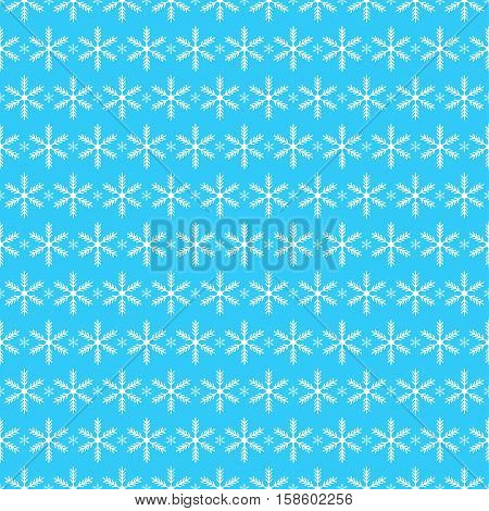 Snowflakes on blue - Christmas seamless background. Vector.