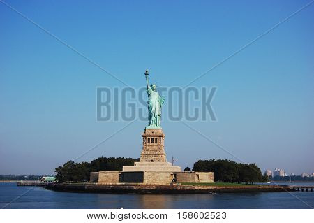 Statue of Liberty, the symbol of the United States of America, is located in Liberty Island, New York City, USA.