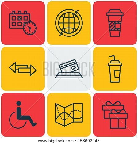 Set Of Airport Icons On Present, Crossroad And Takeaway Coffee Topics. Editable Vector Illustration. Includes Calendar, Date, Appointment And More Vector Icons.