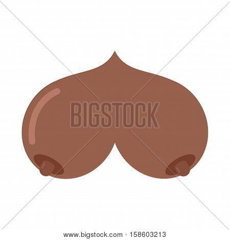 Bosom African American isolated. Boobs on white background. Breasts emblem. Female breast poster