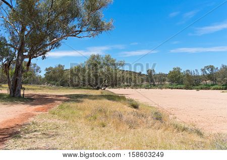 dry todd river basin and trees landscape near alice springs in northern territory of australia