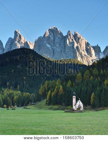St. Johann Church, Santa Maddalena, Funes, Dolomites, Italy