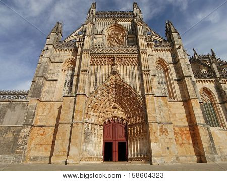 Monastery of Batalha. Is one of the most important Gothic sites in Portugal. District of Leiria, Portugal. October 6, 2016