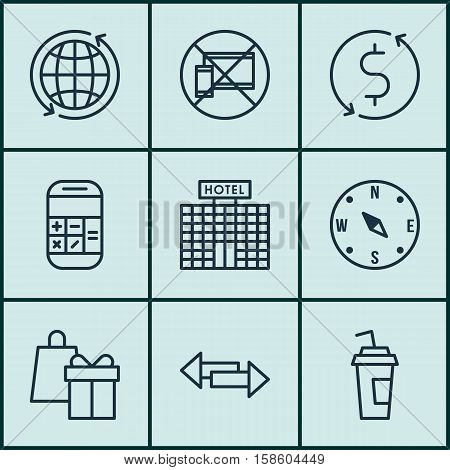 Set Of Travel Icons On Drink Cup, Crossroad And Calculation Topics. Editable Vector Illustration. Includes Dollar, No, Transfer And More Vector Icons.