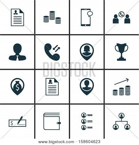 Set Of Human Resources Icons On Manager, Job Applicants And Cellular Data Topics. Editable Vector Illustration. Includes Organisation, Check, Dollar And More Vector Icons.