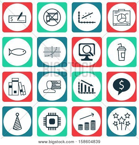 Set Of 16 Universal Editable Icons. Can Be Used For Web, Mobile And App Design. Includes Icons Such As Library, Drink Cup, Fail Graph And More.