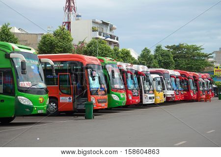 VUNG TAU, VIETNAM - DECEMBER 23, 2016: Intercity buses at the bus station of the city of Vungtau. The tourist landmark of the city Vung Tau, Vietnam
