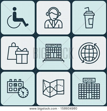 Set Of Traveling Icons On Hotel Construction, Operator And Accessibility Topics. Editable Vector Illustration. Includes Operator, Center, Accessibility And More Vector Icons.