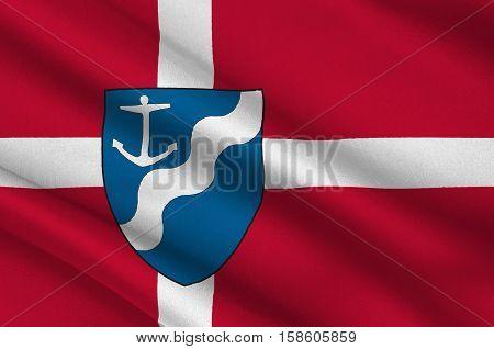 Flag of Aarhus in Central Jutland Region in Denmark. 3d illustration