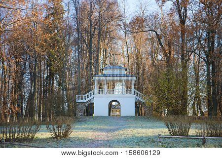 PUSHKINSKIYE GORY, RUSSIA - OCTOBER 18, 2014: The Grotto pavilion in the first October frost. Manor Petrovsky (family manor of ancestors of the russian poet A. S. Pushkin). Pskov region, Pushkin Mountains
