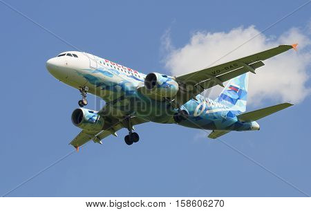 SAINT PETERSBURG, RUSSIA - JUNE 29, 2015: Airbus A319-111 (VQ-BAS) of the airline