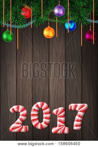 Holiday Colorful Greeting Card With Candy Cane Number Of 2017
