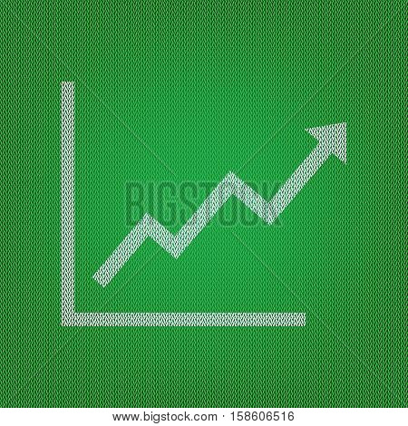 Growing Bars Graphic Sign. White Icon On The Green Knitwear Or W