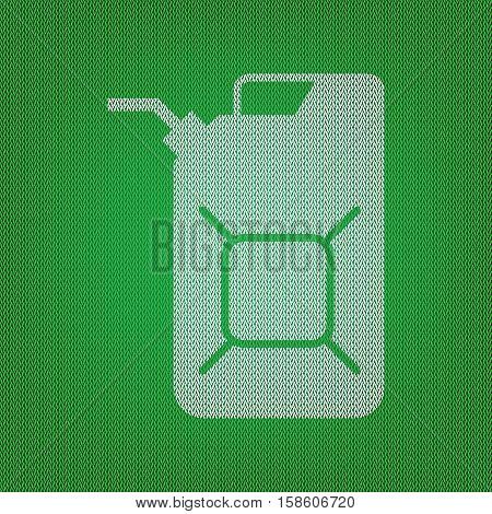 Jerrycan Oil Sign. Jerry Can Oil Sign. White Icon On The Green K