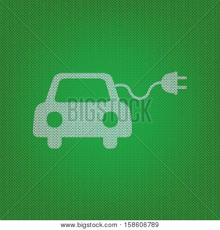 Eco Electric Car Sign. White Icon On The Green Knitwear Or Woole