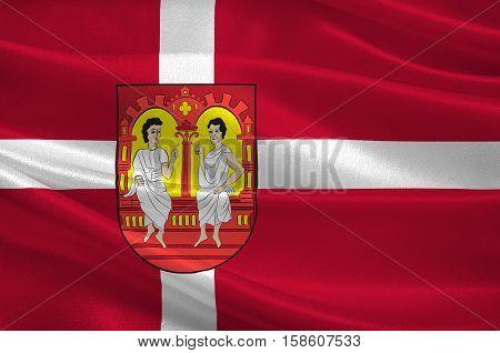 Flag of Viborg in Central Jutland Region in Denmark. 3d illustration
