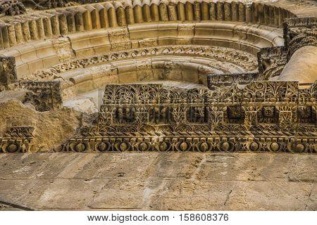 Byzantine facade and Immovable Ladder of Holy Sepulchre Church Jerusalem. Jerusalem Holy Sepulcher
