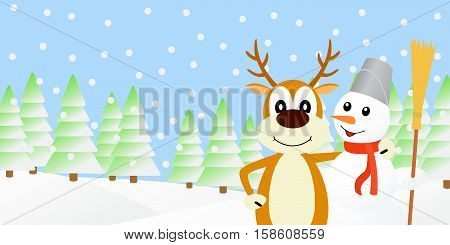 Vector illustration the deer and the snowman.