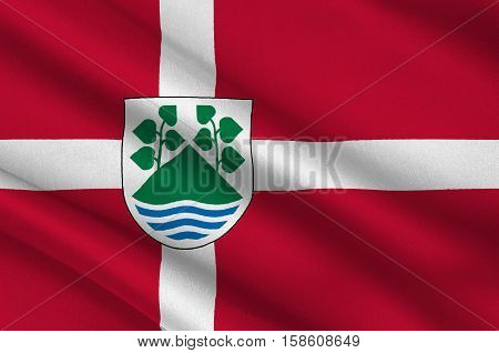 Flag of Aeroskobing in Southern Denmark Region. 3d illustration